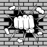 Clenched fist hit the wall emblem vector illustration 60016028063| 写真素材・ストックフォト・画像・イラスト素材|アマナイメージズ