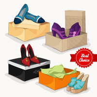 Fashion collection of classic woman's shoes ankle boots sandals and ballet flats with gift boxes isolated vector illustratio 60016028137| 写真素材・ストックフォト・画像・イラスト素材|アマナイメージズ