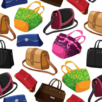 Seamless woman's fashion bags handbag clutch pouch and satchel pattern background vector illustration 60016028139| 写真素材・ストックフォト・画像・イラスト素材|アマナイメージズ