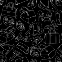 Seamless woman's fashion accessory bags and shoes sketch pattern background vector illustration. Editable EPS and Render in  60016028142| 写真素材・ストックフォト・画像・イラスト素材|アマナイメージズ