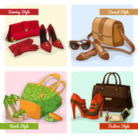 Set of women elegant bags shoes and accessories in evening fashion casual and beach style isolated vector illustration 60016028146| 写真素材・ストックフォト・画像・イラスト素材|アマナイメージズ