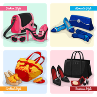 Set of women luxury bags shoes and accessories in fashion cocktail romantic and business style isolated vector illustration 60016028148| 写真素材・ストックフォト・画像・イラスト素材|アマナイメージズ