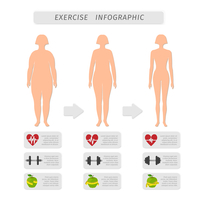 Fitness exercise progress infographic design elements set of heart rate strength and slimness woman silhouette isolated vector i 60016028269| 写真素材・ストックフォト・画像・イラスト素材|アマナイメージズ