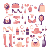 Woman fashion stylish casual shopping accessory collection isolated vector illustration 60016028285| 写真素材・ストックフォト・画像・イラスト素材|アマナイメージズ