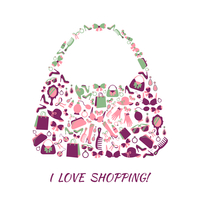 Woman shopping bag purse made of girl accessories and love shopping text poster vector illustration 60016028286| 写真素材・ストックフォト・画像・イラスト素材|アマナイメージズ