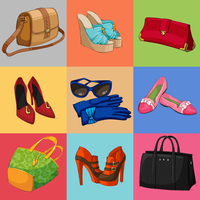 Women luxury bags casual shoes and modern accessories collection of decorative icons vector illustration 60016028396| 写真素材・ストックフォト・画像・イラスト素材|アマナイメージズ