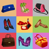 Women fashion bags classic shoes and modern accessories collection of decorative icons vector illustration 60016028397| 写真素材・ストックフォト・画像・イラスト素材|アマナイメージズ