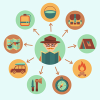 Camping summer outdoor activity icons set with traveler vector illustration 60016028751| 写真素材・ストックフォト・画像・イラスト素材|アマナイメージズ