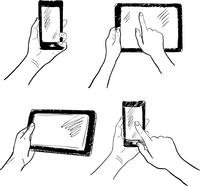 Hand gestures holding smartphone tablet touchscreen sketch set isolated vector illustration 60016028898  写真素材・ストックフォト・画像・イラスト素材 アマナイメージズ