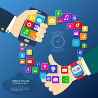 Smart watch smartphone synchro concept with thumbs up hand and mobile phone applications icons vector illustration 60016028911  写真素材・ストックフォト・画像・イラスト素材 アマナイメージズ