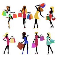 Shopping girl female figure silhouettes with sale bags isolated vector illustration. 60016029074| 写真素材・ストックフォト・画像・イラスト素材|アマナイメージズ