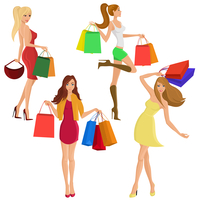 Shopping girl young sexy female figures with sale fashion bags isolated vector illustration 60016029075| 写真素材・ストックフォト・画像・イラスト素材|アマナイメージズ
