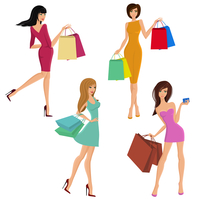 Shopping girl young sexy female figures with fashion bags isolated vector illustration 60016029076| 写真素材・ストックフォト・画像・イラスト素材|アマナイメージズ