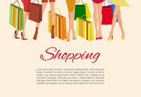 Young sexy  girls slim legs and with fashion bags shopping poster vector illustration 60016029077| 写真素材・ストックフォト・画像・イラスト素材|アマナイメージズ