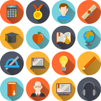 Education school university e-learning flat long shadow  icons set with science elements isolated vector illustration 60016029100| 写真素材・ストックフォト・画像・イラスト素材|アマナイメージズ