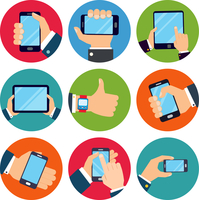 Human hands set holding mobile phones and tablet devices isolated vector illustration 60016029124  写真素材・ストックフォト・画像・イラスト素材 アマナイメージズ