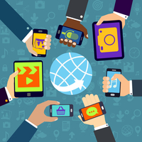 Human hands set holding mobile phones and tablet devices using mobile services concept vector illustration 60016029125  写真素材・ストックフォト・画像・イラスト素材 アマナイメージズ