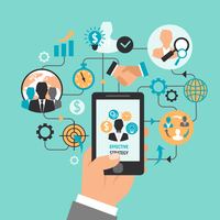 Hand holding smartphone and business and management icons effective strategy concept vector illustration 60016029335  写真素材・ストックフォト・画像・イラスト素材 アマナイメージズ