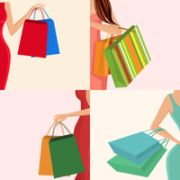 Young females holding shopping bags in hands decorative elements set isolated vector illustration 60016029392| 写真素材・ストックフォト・画像・イラスト素材|アマナイメージズ