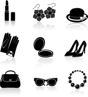 Woman fashion stylish casual shopping classic black icons set isolated vector illustration. 60016029412| 写真素材・ストックフォト・画像・イラスト素材|アマナイメージズ