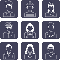 Avatar professions outline icons set of doctor firefighter judge pilot isolated vector illustration 60016029447| 写真素材・ストックフォト・画像・イラスト素材|アマナイメージズ
