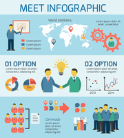 Flat business people meeting infographics design layout template with icons vector illustration 60016029689| 写真素材・ストックフォト・画像・イラスト素材|アマナイメージズ