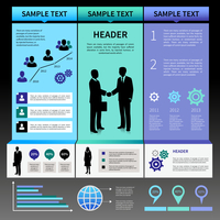 Infographics presentation layout template with business people silhouettes and icons vector illustration 60016029695| 写真素材・ストックフォト・画像・イラスト素材|アマナイメージズ