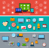 Mobile applications business and e-commerce concepts icons set vector illustration 60016029779| 写真素材・ストックフォト・画像・イラスト素材|アマナイメージズ