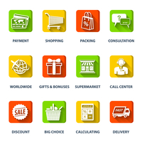 E-commerce internet shopping icons set of worldwide supermarket call center elements isolated vector illustration 60016029783| 写真素材・ストックフォト・画像・イラスト素材|アマナイメージズ