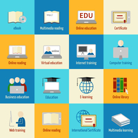 Online education icons set of ebook multimedia reading certificate internet training isolated vector illustration 60016029785| 写真素材・ストックフォト・画像・イラスト素材|アマナイメージズ