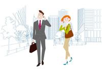 オフィス前で携帯電話で通話をするオフィスのビジネスマンとビジネスウーマン 60017000015  写真素材・ストックフォト・画像・イラスト素材 アマナイメージズ