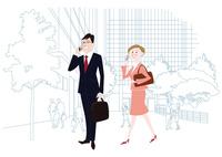 オフィス前で携帯電話で通話をするオフィスのビジネスマンとビジネスウーマン 60017000027  写真素材・ストックフォト・画像・イラスト素材 アマナイメージズ