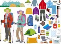 登山の男女の装いとアイテム 60028000005| 写真素材・ストックフォト・画像・イラスト素材|アマナイメージズ