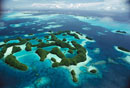 Aerial view of the Rock Islands of Palau、 the limestone isl