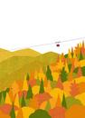 山間の紅葉とロープウェイ