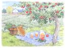 リンゴの木とニンジン畑 うさぎの訪問 水彩イラスト