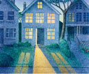 Illustration of House with Lights On at Night