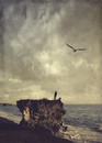 Spain, La Palma, Man standing on rock and looking out on the sea