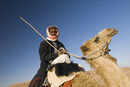 Bedouin on camel in the desert, Wadi Rum, Jordan, Middle East