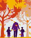 Grandfather and grandchildren walking under autumn trees