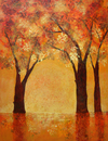 Trees with orange autumn leaves