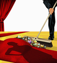 Man sweeping the dirt under the celebrity red carpet 20039011758| 写真素材・ストックフォト・画像・イラスト素材|アマナイメージズ