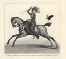 Woman horse riding side-saddle.