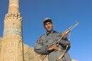 Security guard in front of the 12th century Minaret of Jam, UNESCO World Heritage Site, Ghor (Ghur, Ghowr) Province, Afghanistan