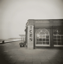 Image taken with a Holga medium format 120 film toy camera of ices sign on side of old Rendezvous Cafe on dull winter