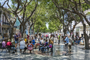 Cuba, Havana, Central Havana.  The Paseo de Marti walkway is a popular place to enjoy outside group lectures and for artists and