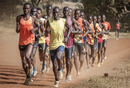 Africa, Kenya, Iten. Runners training in the Kamariny stadium