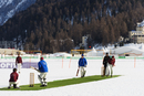 Europe, Switzerland, Graubunden, Engadine, St Moritz in winter, cricket on ice sports event