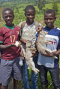 Young boys take rabbits and a guinea pig to sell at a roadside market on the road between Fort Portal and Kasese, Uganda, Africa