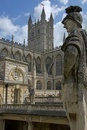 Statues in Roman Baths, looking to Bath Abbey,  Bath, Somers